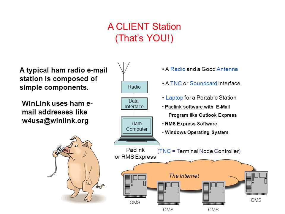 The Internet CMS A CLIENT Station (That's YOU!) A typical ham radio e-mail station is composed of simple components.