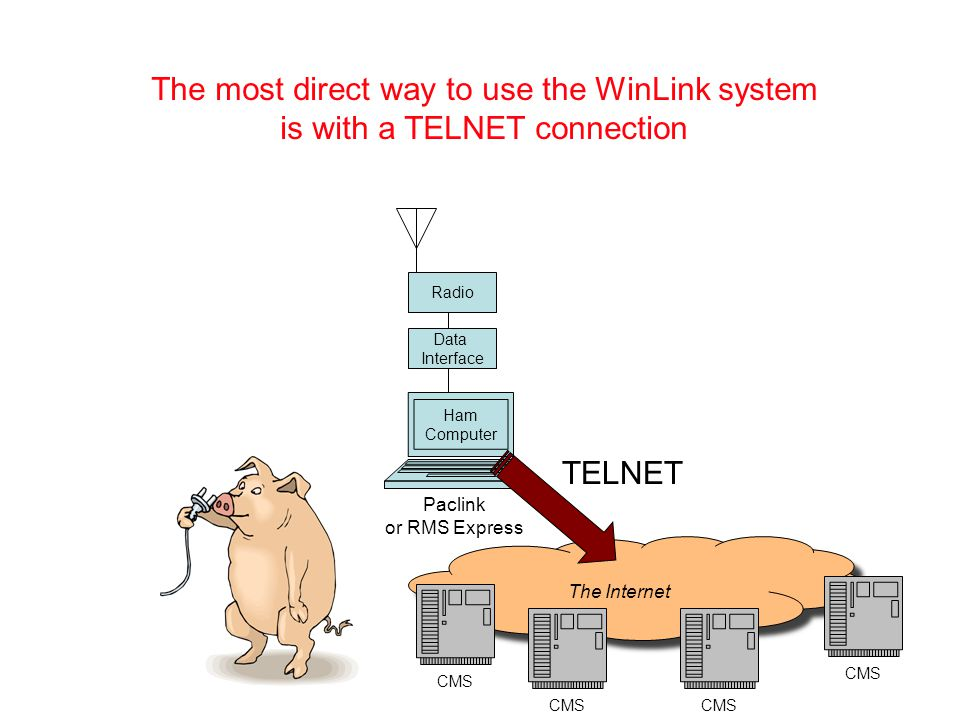 The Internet CMS Radio Data Interface Ham Computer The most direct way to use the WinLink system is with a TELNET connection Paclink or RMS Express TELNET