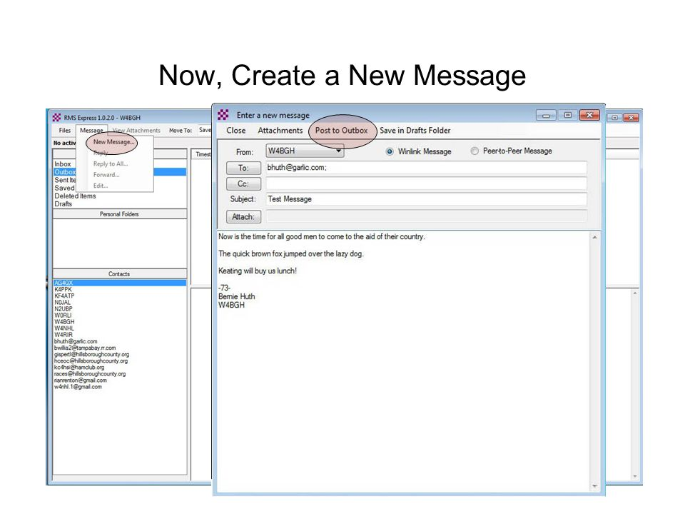 Now, Create a New Message
