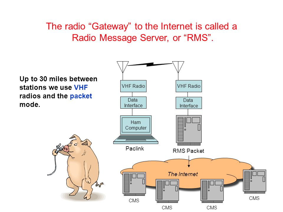 The Internet CMS The radio Gateway to the Internet is called a Radio Message Server, or RMS .