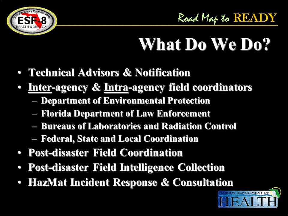 What Do We Do? Technical Advisors & NotificationTechnical Advisors & Notification Inter-agency & Intra-agency field coordinatorsInter-agency & Intra-a