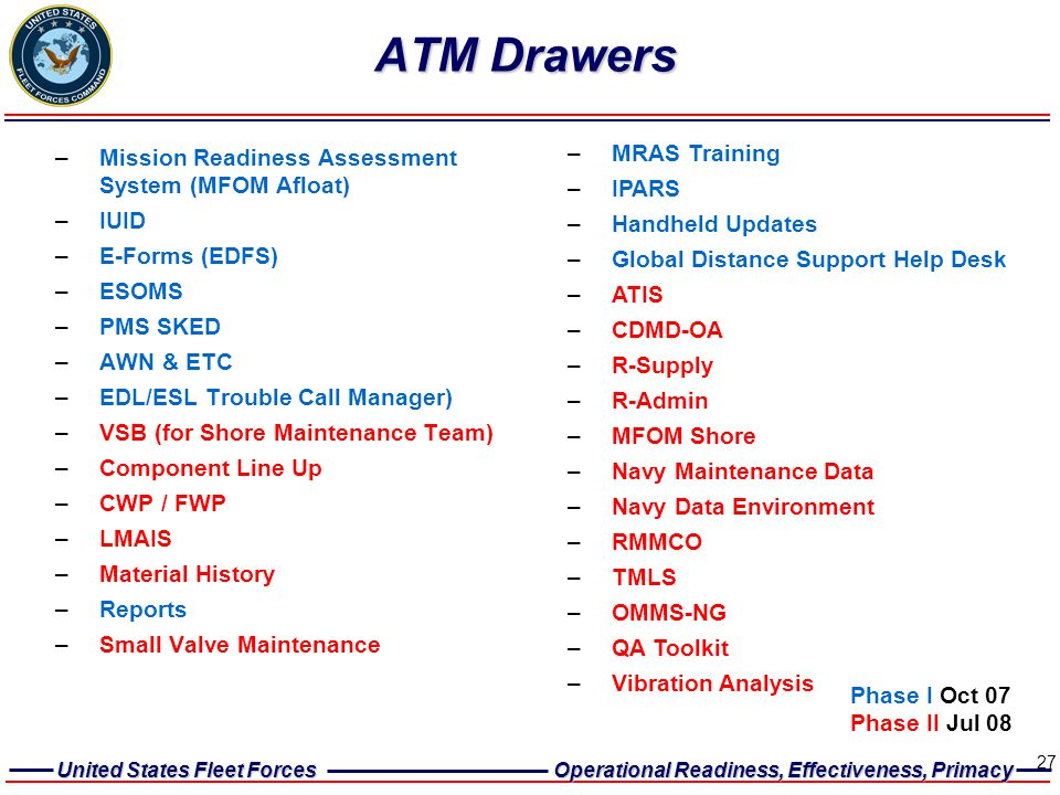 United States Fleet Forces Operational Readiness, Effectiveness, Primacy 27 ATM Drawers –Mission Readiness Assessment System (MFOM Afloat) –IUID –E-Fo