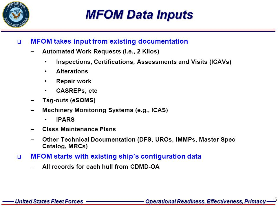 United States Fleet Forces Operational Readiness, Effectiveness, Primacy 5 MFOM Data Inputs  MFOM takes input from existing documentation –Automated