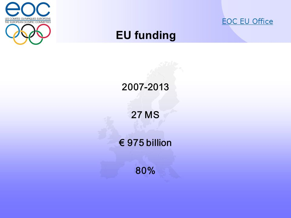 EOC EU Office Erasmus for All - Sport 2014-2020 7-year budget: 238 million EUR Annual budget of around 34 million EUR