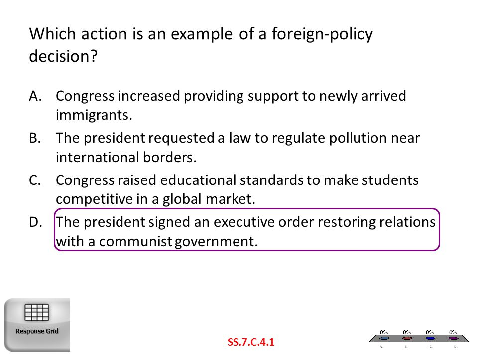 Which action is an example of a foreign-policy decision? SS.7.C.4.1 A.Congress increased providing support to newly arrived immigrants. B.The presiden