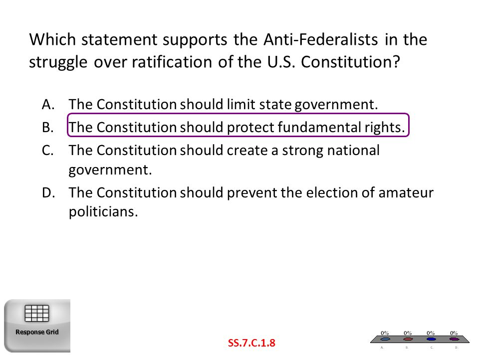 Which statement supports the Anti-Federalists in the struggle over ratification of the U.S. Constitution? A.The Constitution should limit state govern