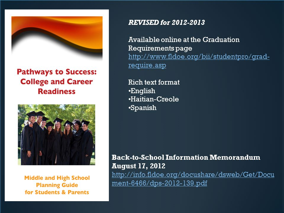 REVISED for 2012-2013 Available online at the Graduation Requirements page http://www.fldoe.org/bii/studentpro/grad- require.asp Rich text format English Haitian-Creole Spanish Back-to-School Information Memorandum August 17, 2012 http://info.fldoe.org/docushare/dsweb/Get/Docu ment-6466/dps-2012-139.pdf