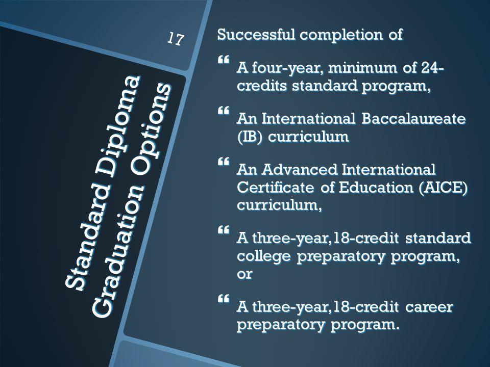 Standard Diploma Graduation Options Successful completion of  A four-year, minimum of 24- credits standard program,  An International Baccalaureate (IB) curriculum  An Advanced International Certificate of Education (AICE) curriculum,  A three-year,18-credit standard college preparatory program, or  A three-year,18-credit career preparatory program.