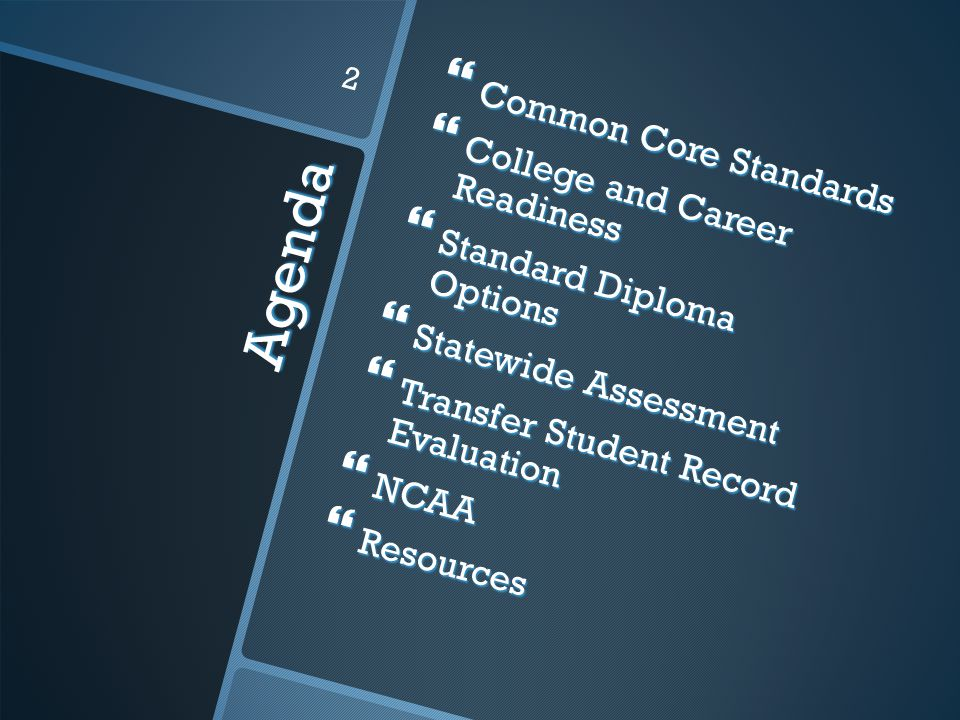 Agenda  Common Core Standards  College and Career Readiness  Standard Diploma Options  Statewide Assessment  Transfer Student Record Evaluation  NCAA  Resources 2