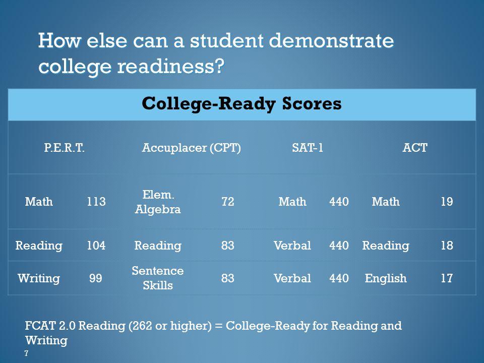 College-Ready Scores P.E.R.T.Accuplacer (CPT)SAT-1ACT Math113 Elem.