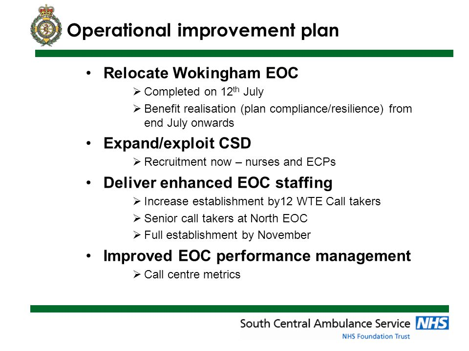 Operational improvement plan Relocate Wokingham EOC  Completed on 12 th July  Benefit realisation (plan compliance/resilience) from end July onwards Expand/exploit CSD  Recruitment now – nurses and ECPs Deliver enhanced EOC staffing  Increase establishment by12 WTE Call takers  Senior call takers at North EOC  Full establishment by November Improved EOC performance management  Call centre metrics