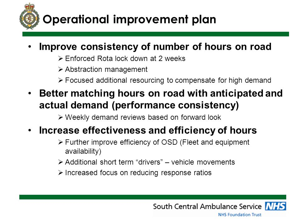 Improve consistency of number of hours on road  Enforced Rota lock down at 2 weeks  Abstraction management  Focused additional resourcing to compensate for high demand Better matching hours on road with anticipated and actual demand (performance consistency)  Weekly demand reviews based on forward look Increase effectiveness and efficiency of hours  Further improve efficiency of OSD (Fleet and equipment availability)  Additional short term drivers – vehicle movements  Increased focus on reducing response ratios Operational improvement plan