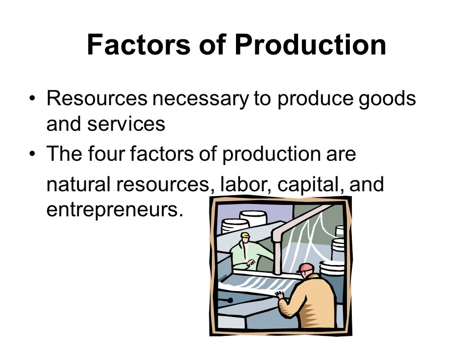 Factors of Production Resources necessary to produce goods and services The four factors of production are natural resources, labor, capital, and entrepreneurs.