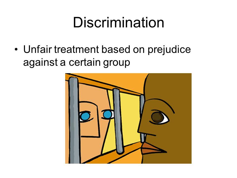 Discrimination Unfair treatment based on prejudice against a certain group