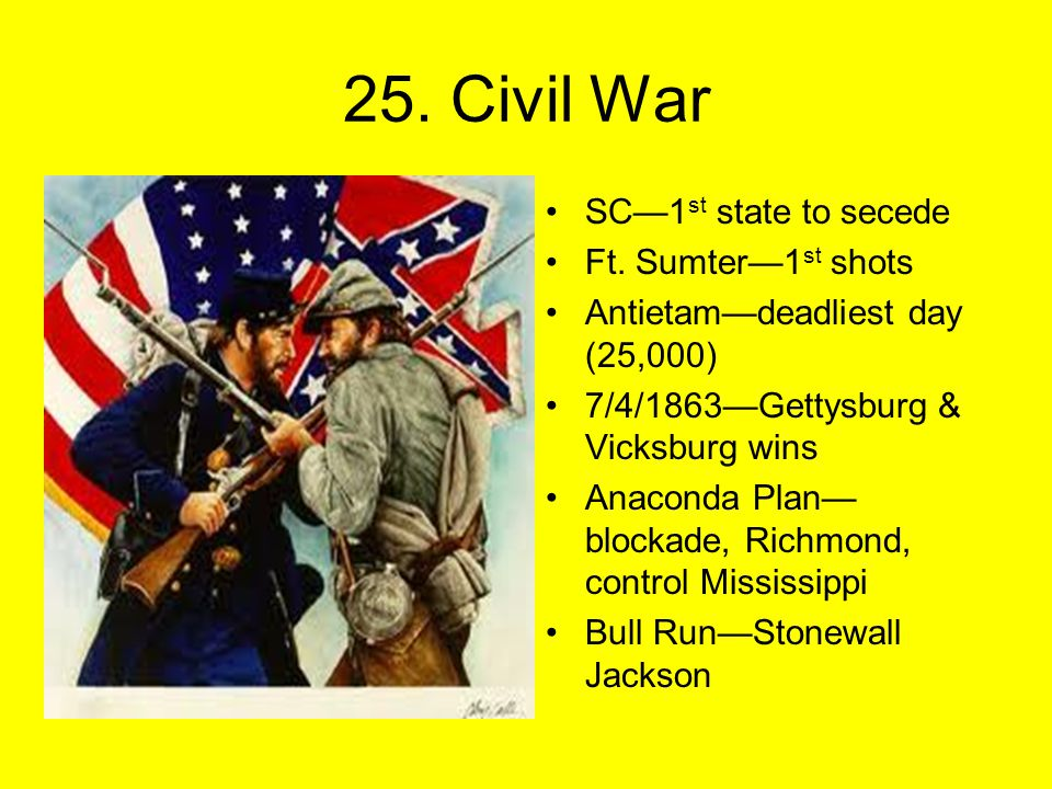 25. Civil War SC—1 st state to secede Ft.