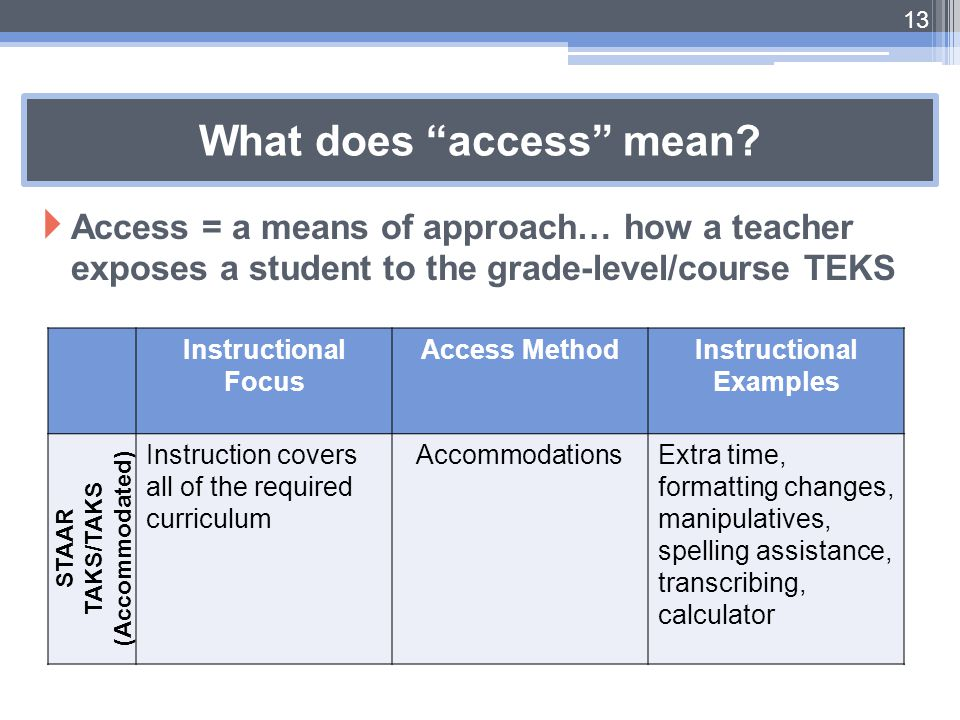 """What does """"access"""" mean?  Access = a means of approach… how a teacher exposes a student to the grade-level/course TEKS 13 Instructional Focus Access"""