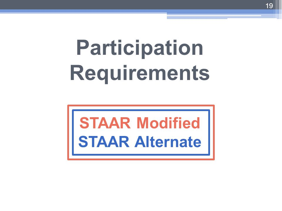 19 Participation Requirements STAAR Modified STAAR Alternate