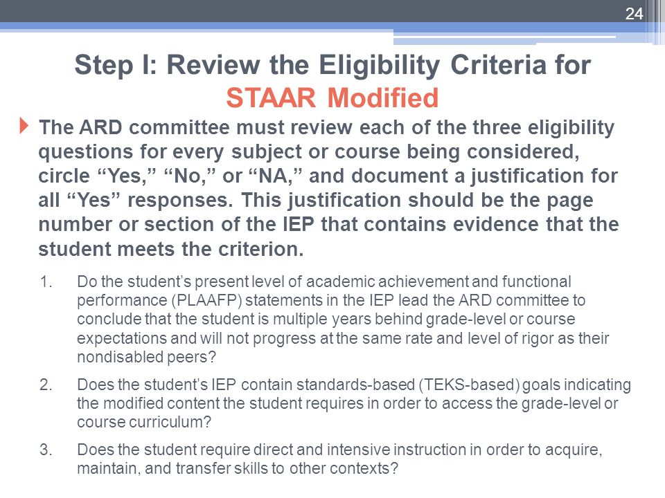 """ The ARD committee must review each of the three eligibility questions for every subject or course being considered, circle """"Yes,"""" """"No,"""" or """"NA,"""" and"""