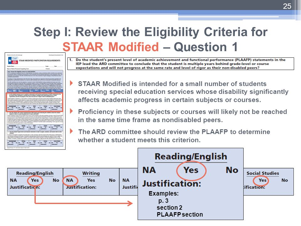  STAAR Modified is intended for a small number of students receiving special education services whose disability significantly affects academic progr