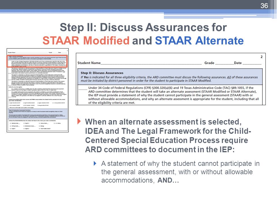 36 Step II: Discuss Assurances for STAAR Modified and STAAR Alternate  When an alternate assessment is selected, IDEA and The Legal Framework for the
