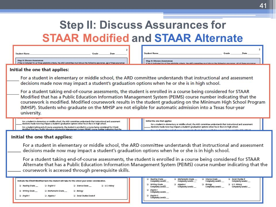41 Step II: Discuss Assurances for STAAR Modified and STAAR Alternate