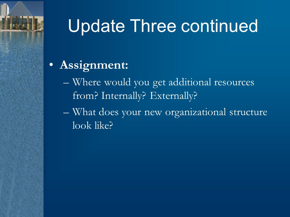 Update Three continued Assignment: –Where would you get additional resources from? Internally? Externally? –What does your new organizational structur