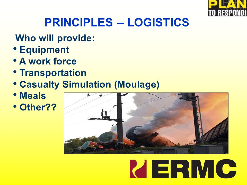 Who will provide: Equipment A work force Transportation Casualty Simulation (Moulage) Meals Other .