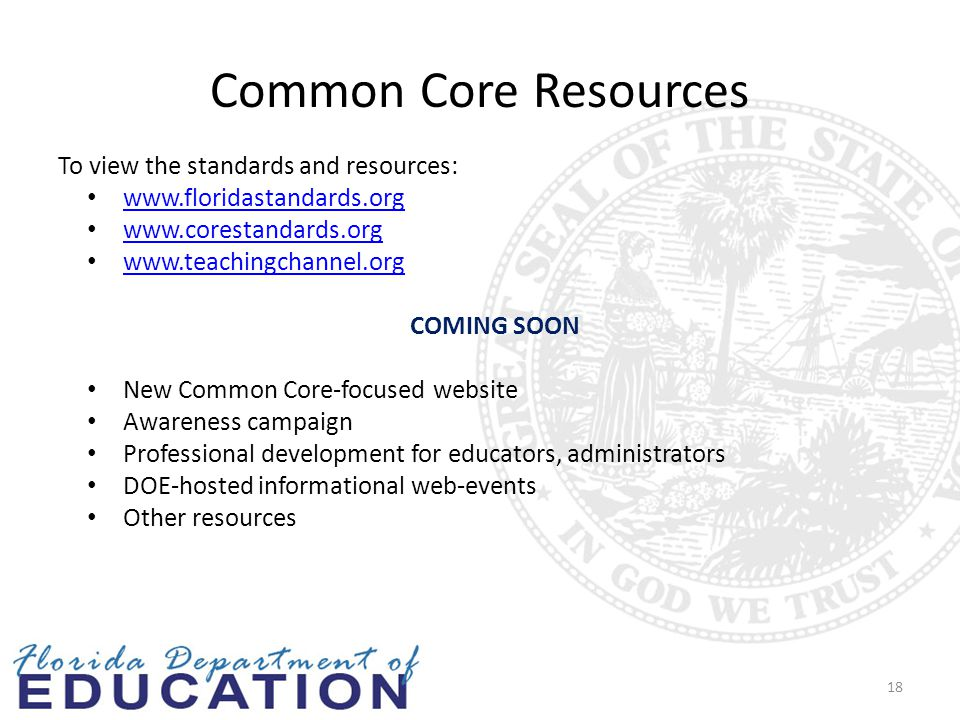 Common Core Resources To view the standards and resources: www.floridastandards.org www.corestandards.org www.teachingchannel.org COMING SOON New Common Core-focused website Awareness campaign Professional development for educators, administrators DOE-hosted informational web-events Other resources 18