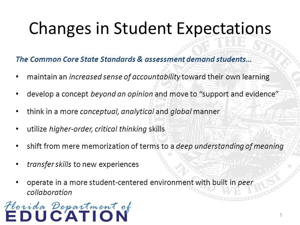Changes in Student Expectations The Common Core State Standards & assessment demand students… maintain an increased sense of accountability toward their own learning develop a concept beyond an opinion and move to support and evidence think in a more conceptual, analytical and global manner utilize higher-order, critical thinking skills shift from mere memorization of terms to a deep understanding of meaning transfer skills to new experiences operate in a more student-centered environment with built in peer collaboration 5