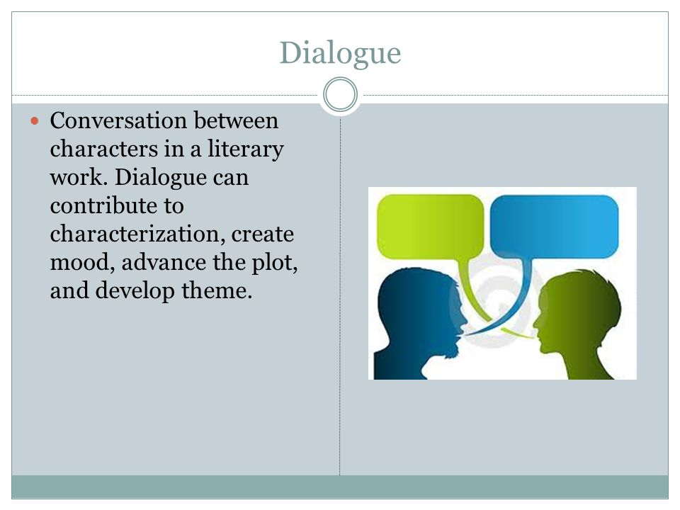 Dialogue Conversation between characters in a literary work.