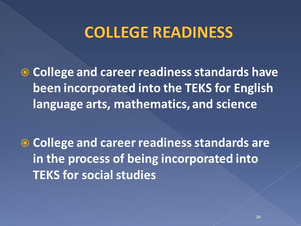  College and career readiness standards have been incorporated into the TEKS for English language arts, mathematics, and science  College and career readiness standards are in the process of being incorporated into TEKS for social studies 20