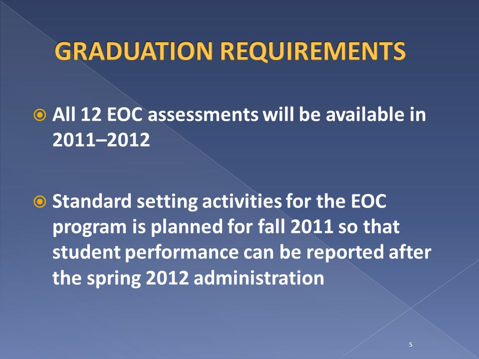  All 12 EOC assessments will be available in 2011–2012  Standard setting activities for the EOC program is planned for fall 2011 so that student performance can be reported after the spring 2012 administration 5