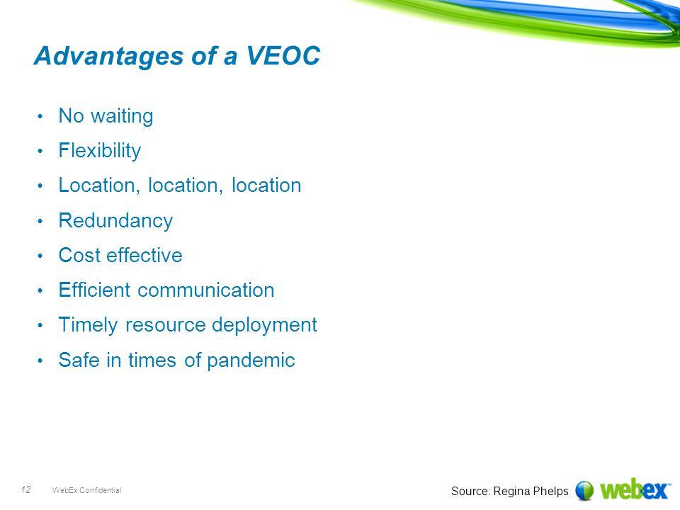 WebEx Confidential 12 Advantages of a VEOC No waiting Flexibility Location, location, location Redundancy Cost effective Efficient communication Timel