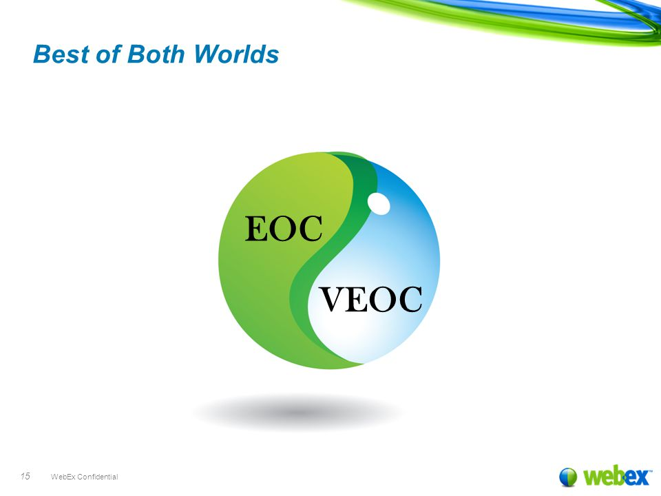 WebEx Confidential 15 EOC VEOC Best of Both Worlds