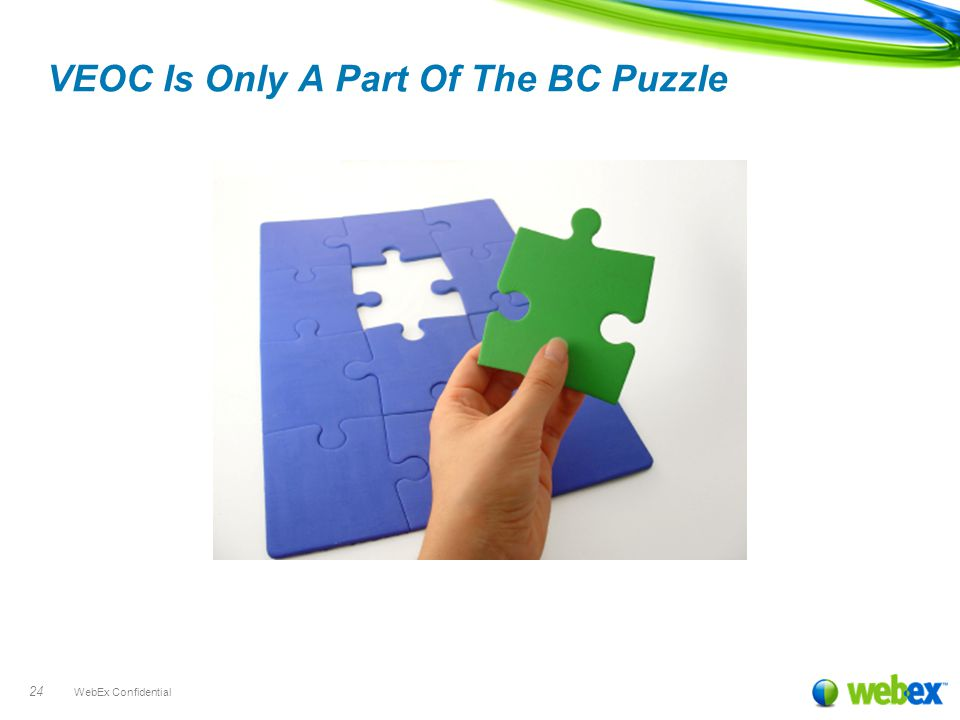 WebEx Confidential 24 VEOC Is Only A Part Of The BC Puzzle