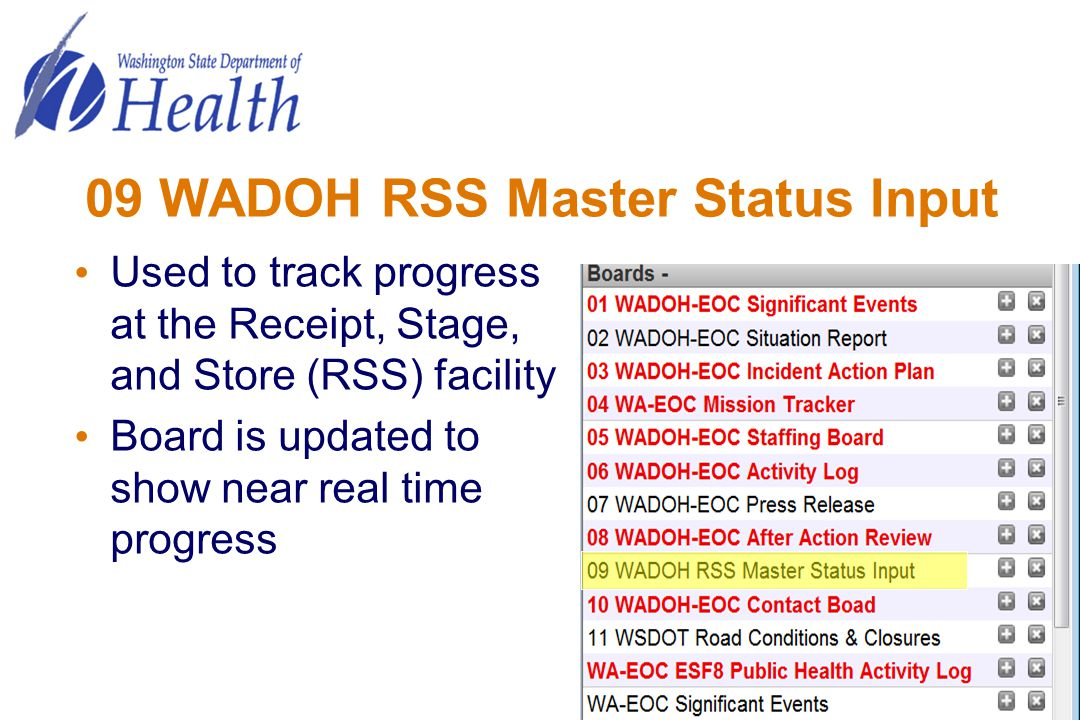 09 WADOH RSS Master Status Input Used to track progress at the Receipt, Stage, and Store (RSS) facility Board is updated to show near real time progre