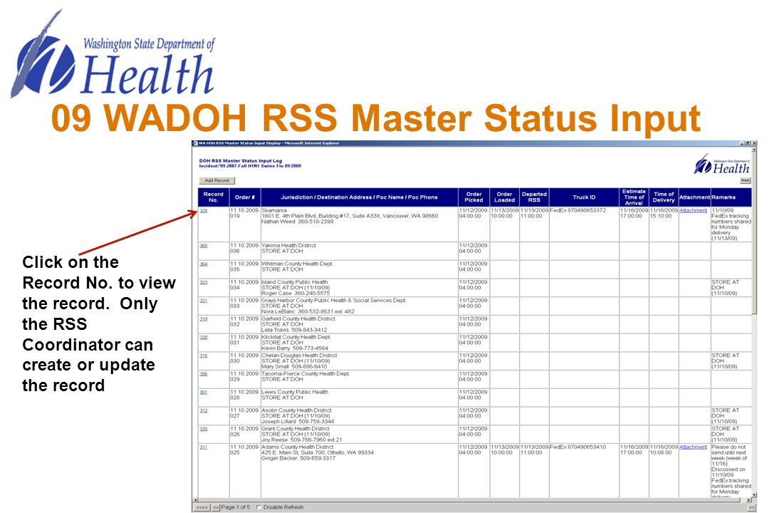 09 WADOH RSS Master Status Input Click on the Record No. to view the record. Only the RSS Coordinator can create or update the record