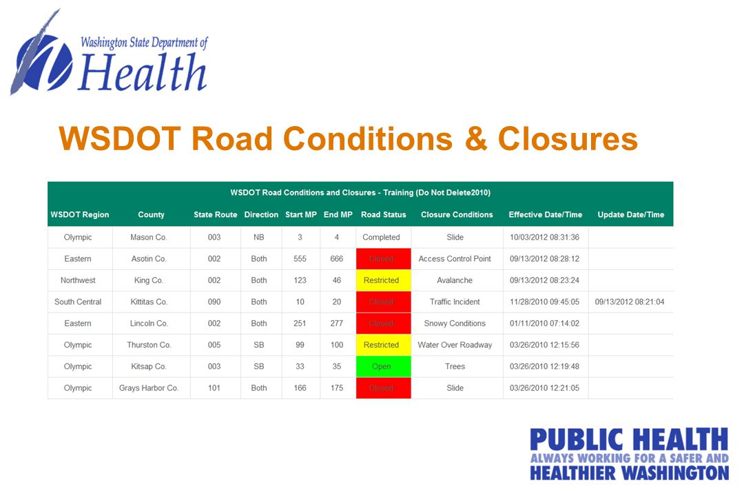 WSDOT Road Conditions & Closures