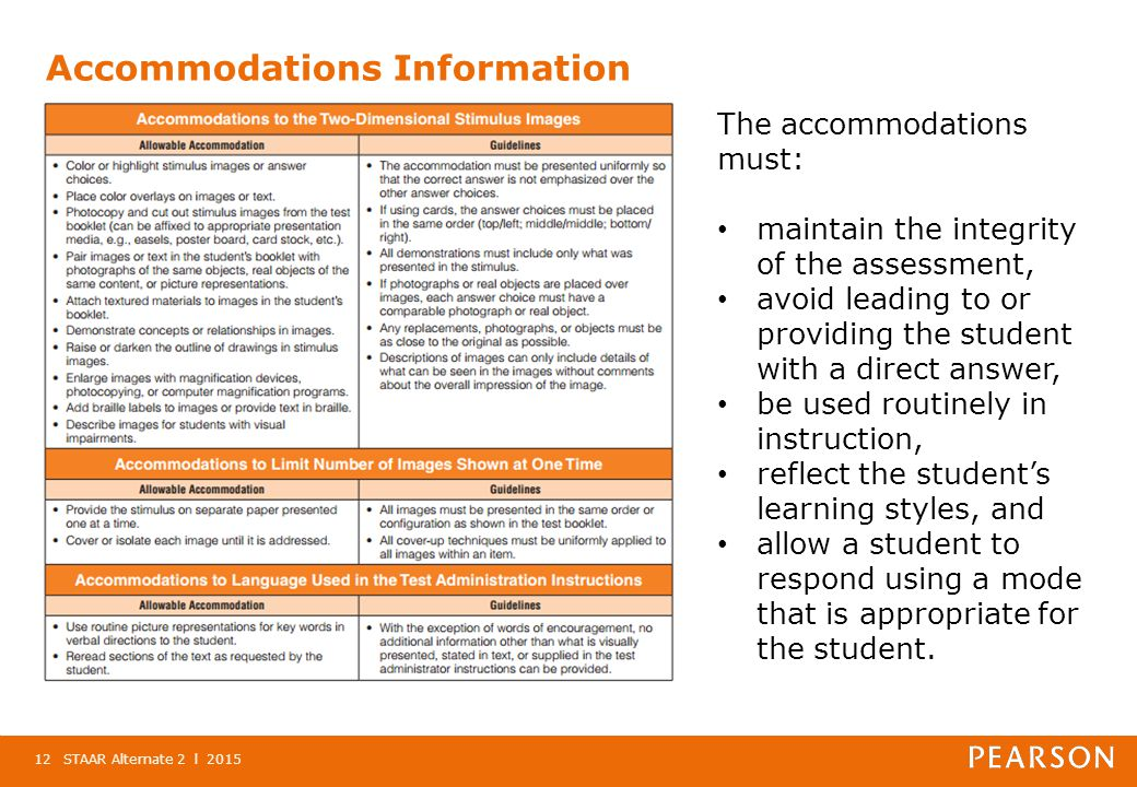Accommodations Information STAAR Alternate 2 l 201512 The accommodations must: maintain the integrity of the assessment, avoid leading to or providing the student with a direct answer, be used routinely in instruction, reflect the student's learning styles, and allow a student to respond using a mode that is appropriate for the student.