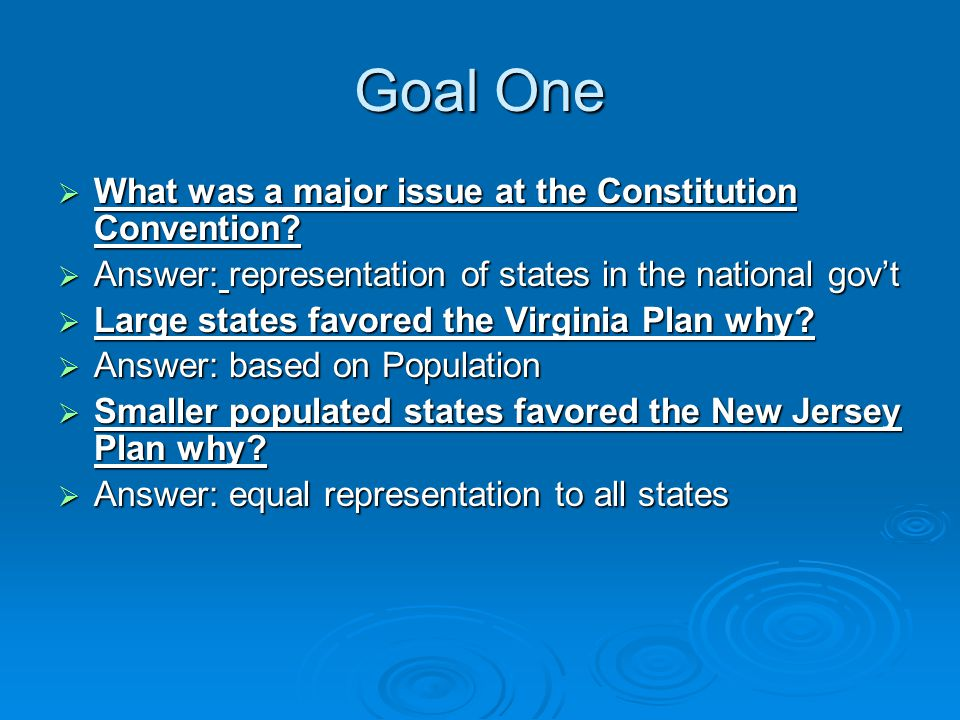 Goal One  What was a major issue at the Constitution Convention.