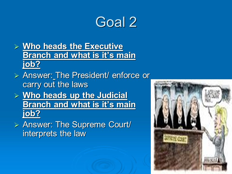 Goal 2  Who heads the Executive Branch and what is it's main job.