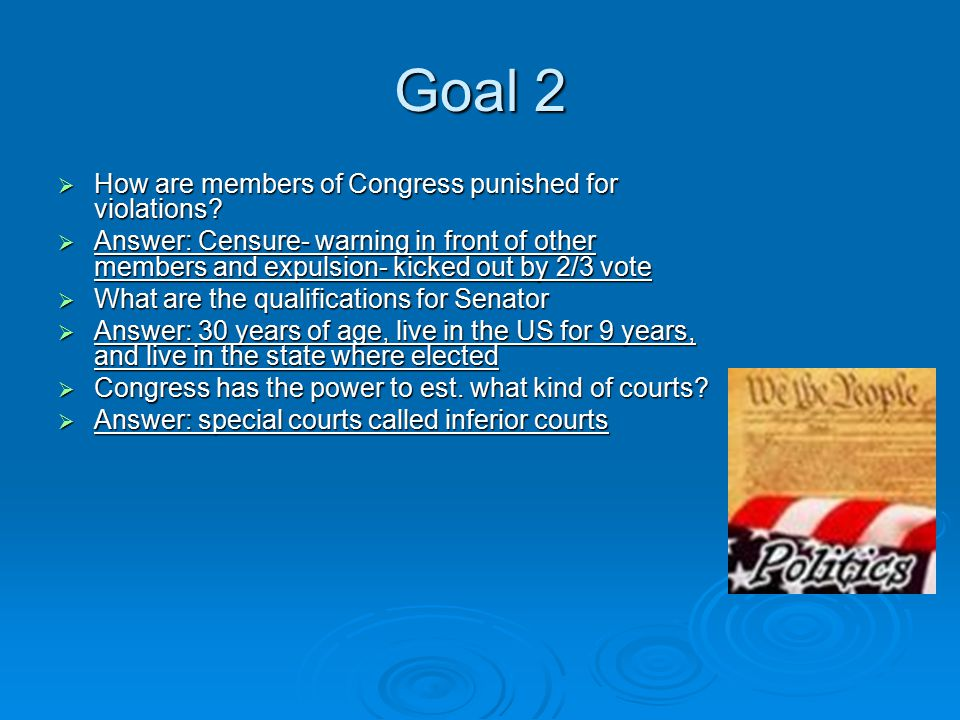 Goal 2  How are members of Congress punished for violations.