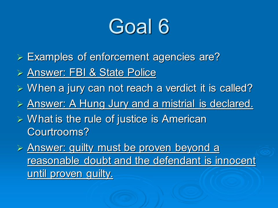Goal 6  Examples of enforcement agencies are.