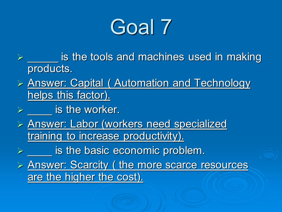 Goal 7  _____ is the tools and machines used in making products.