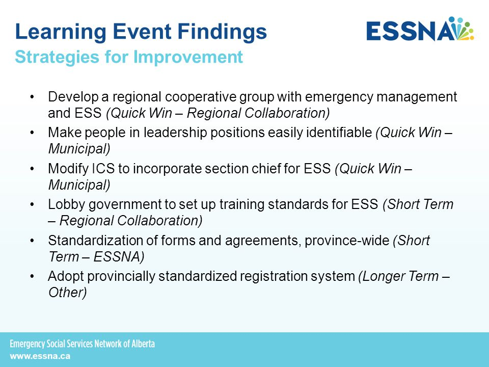 Strategies for Improvement Develop a regional cooperative group with emergency management and ESS (Quick Win – Regional Collaboration) Make people in leadership positions easily identifiable (Quick Win – Municipal) Modify ICS to incorporate section chief for ESS (Quick Win – Municipal) Lobby government to set up training standards for ESS (Short Term – Regional Collaboration) Standardization of forms and agreements, province-wide (Short Term – ESSNA) Adopt provincially standardized registration system (Longer Term – Other) Learning Event Findings