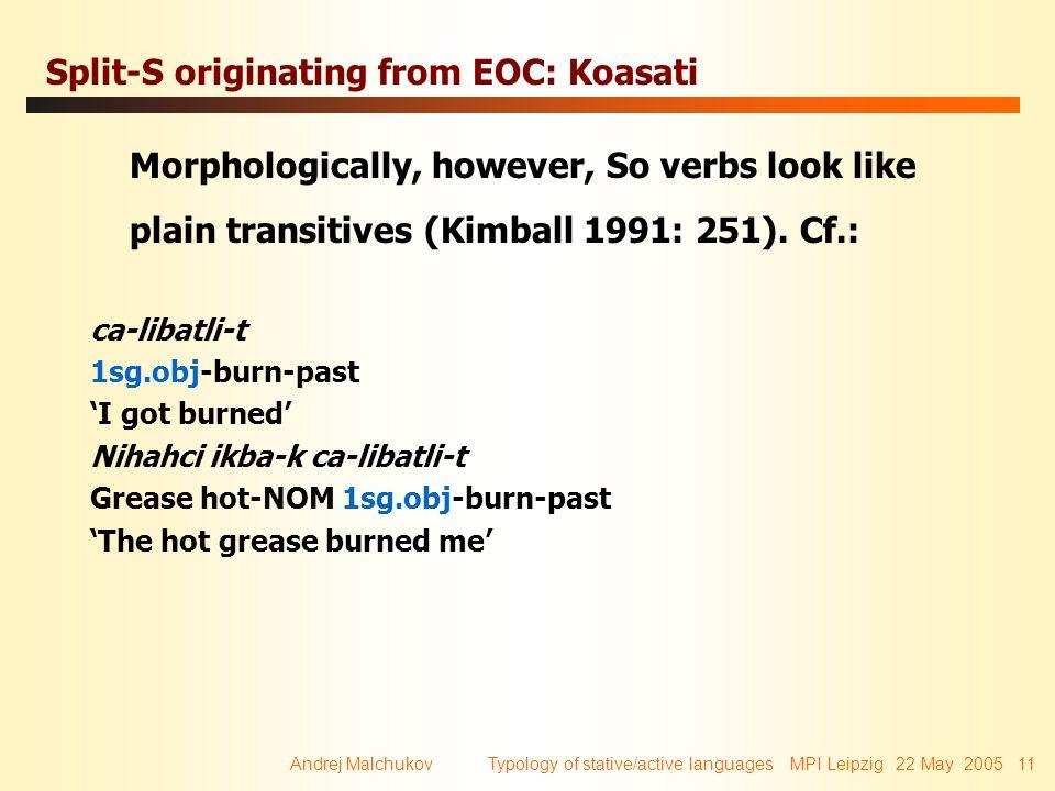Andrej Malchukov Typology of stative/active languages MPI Leipzig 22 May 2005 11 Split-S originating from EOC: Koasati Morphologically, however, So ve