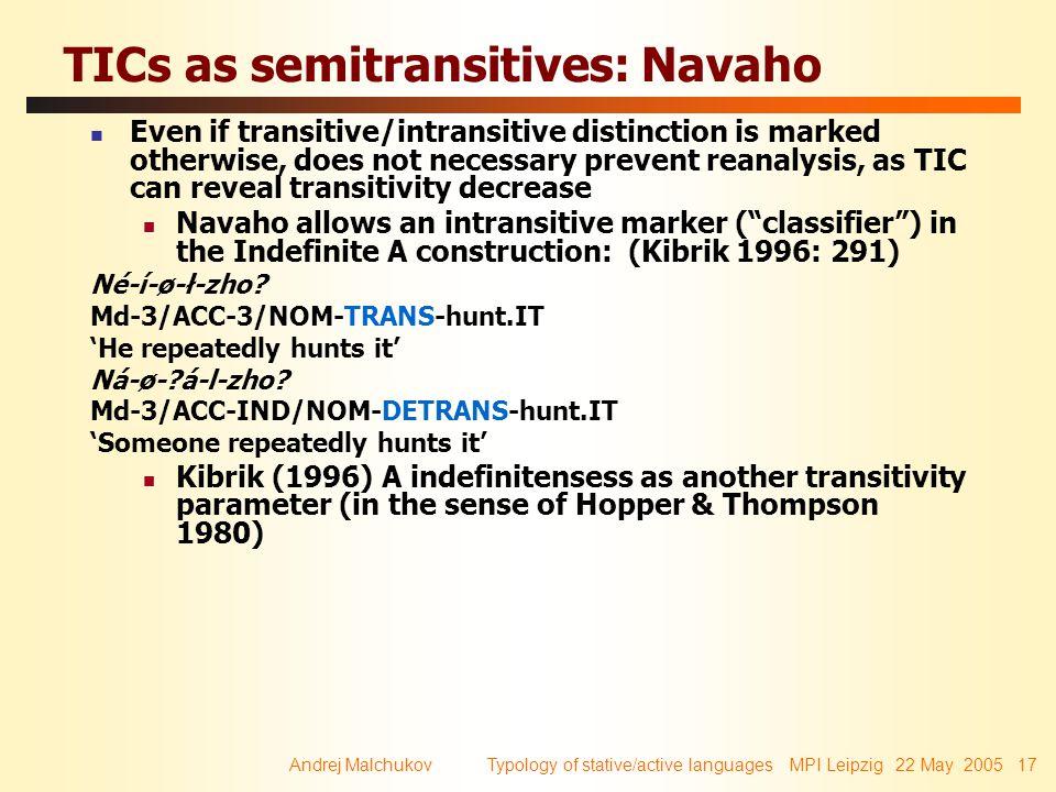 Andrej Malchukov Typology of stative/active languages MPI Leipzig 22 May 2005 17 TICs as semitransitives: Navaho Even if transitive/intransitive disti