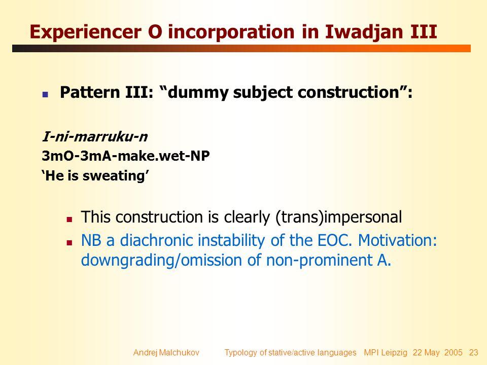 "Andrej Malchukov Typology of stative/active languages MPI Leipzig 22 May 2005 23 Experiencer O incorporation in Iwadjan III Pattern III: ""dummy subjec"