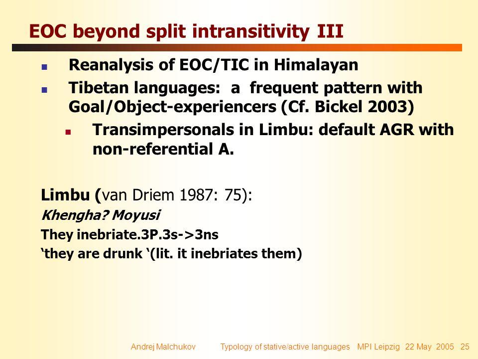 Andrej Malchukov Typology of stative/active languages MPI Leipzig 22 May 2005 25 EOC beyond split intransitivity III Reanalysis of EOC/TIC in Himalaya