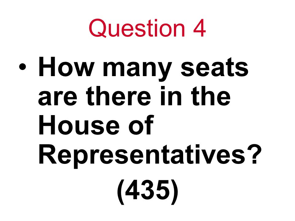 Question 4 How many seats are there in the House of Representatives? (435)